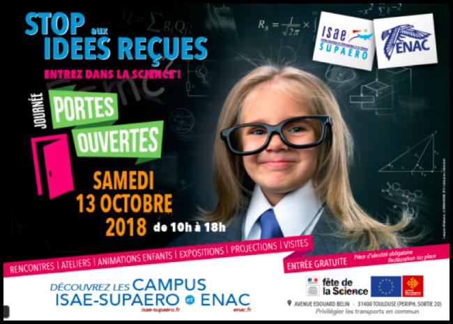"""Journée Portes Ouvertes des campus  de l'ISAE-SUPAERO et de l'ENAC : """"Stop aux idées reçues : entrez dans la science !"""""""