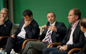 Les intervenants de la conférence de l'année dernière, de gauche à droite : Yvon Rousset, Marc Lièvremont, Thomas Savare, Thierry Janeczek et Richard Escot