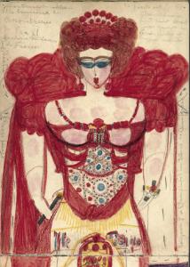 Aloïse Montreuse de tableau (page d'un cahier), 1941 mine de plomb et crayon de couleur sur papier 33 x 25 cm Photo : Amélie Blanc. Collection de l'Art Brut, Lausanne