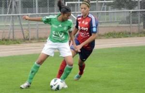 Aude (en vert) en pleine action sur le terrain !