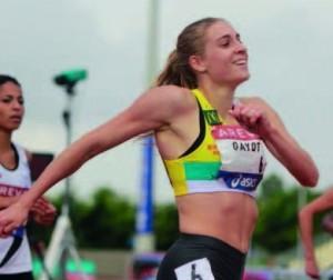 Marie, heureuse sur le finish de son sprint