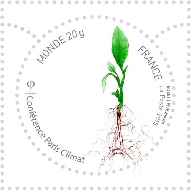 Le timbre dessiné par Noémie Auzet, étudiante à l'École supérieure d'art et design de Saint-Étienne, élu timbre officiel de la COP 21 !