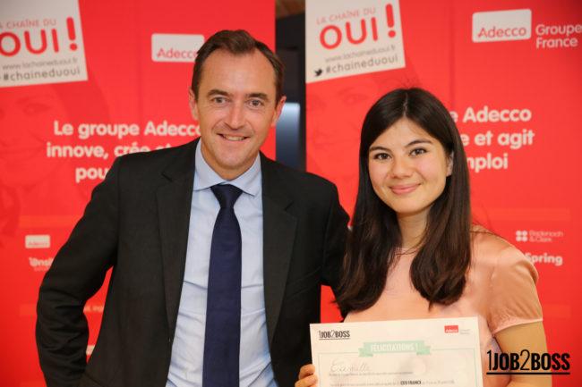 Camille Clément, étudiante à emlyon business school, sera le boss d'Adecco France durant un mois !
