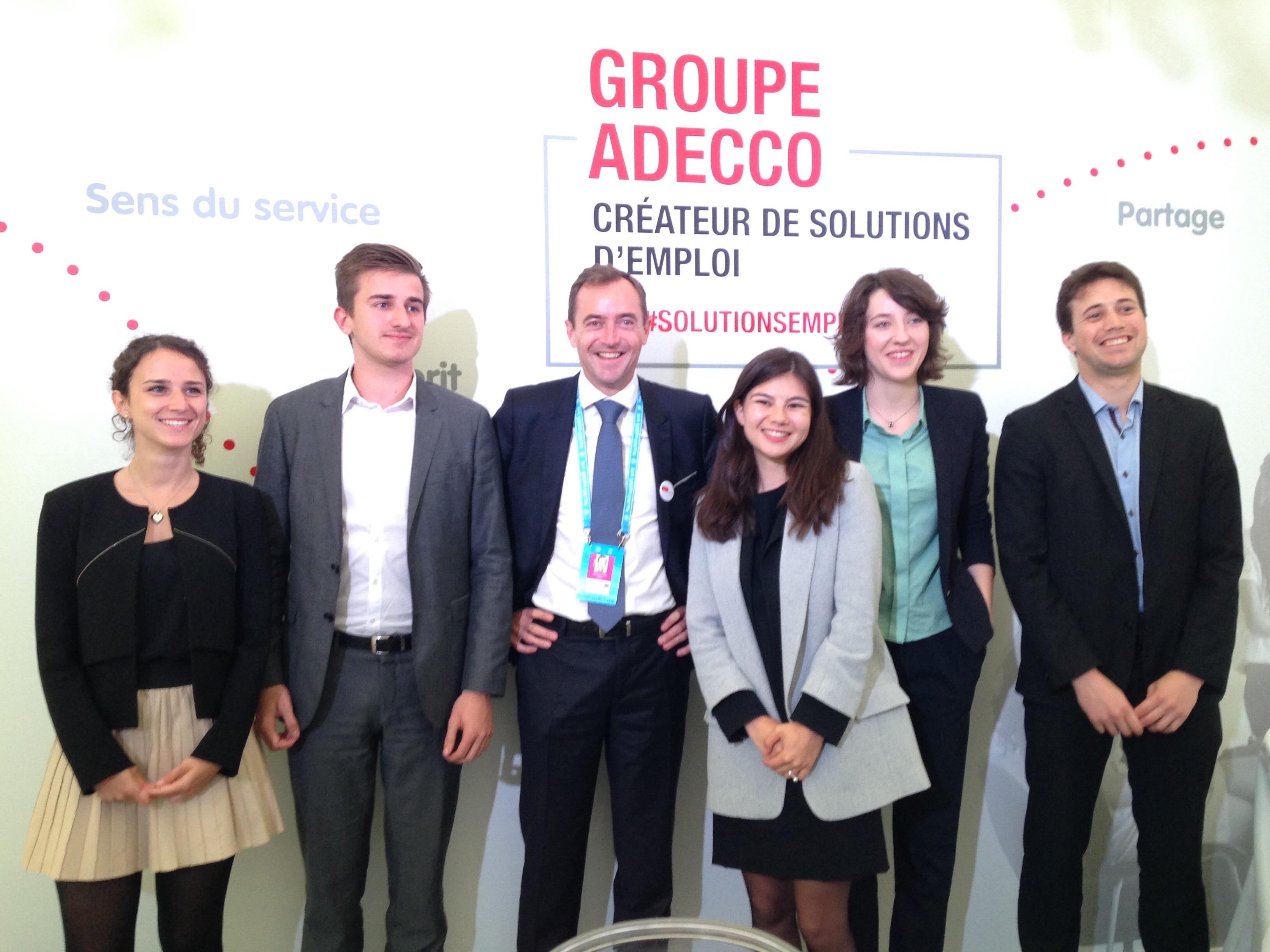 #1Job2Boss 2016 Adecco France, les 5 finalistes avec le PDG C. Catoir.