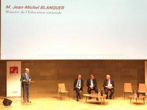 """Jean-Michel Blanquer a participé au colloque """"L'emploi des jeunes, aujourd'hui et demain"""" organisé par l'Association Jeunesse et Entreprises et l'Académie des sciences morales et politiques."""