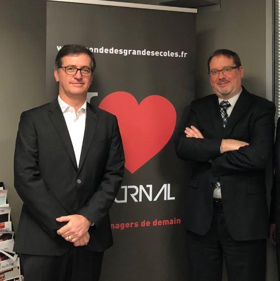 Emeric Peyredieu du Charlat, DG d'Audencia avec son nouveau directeur des programmes, Daniel Evans
