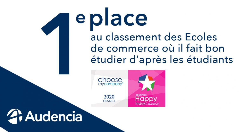 Classement HappyAtSchool® 2020 :  Audencia N°1 des écoles de commerce