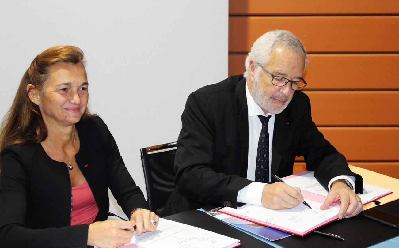 Florence Darmon, directrice générale de l'ESTP Paris & François Rebsamen, maire de Dijon