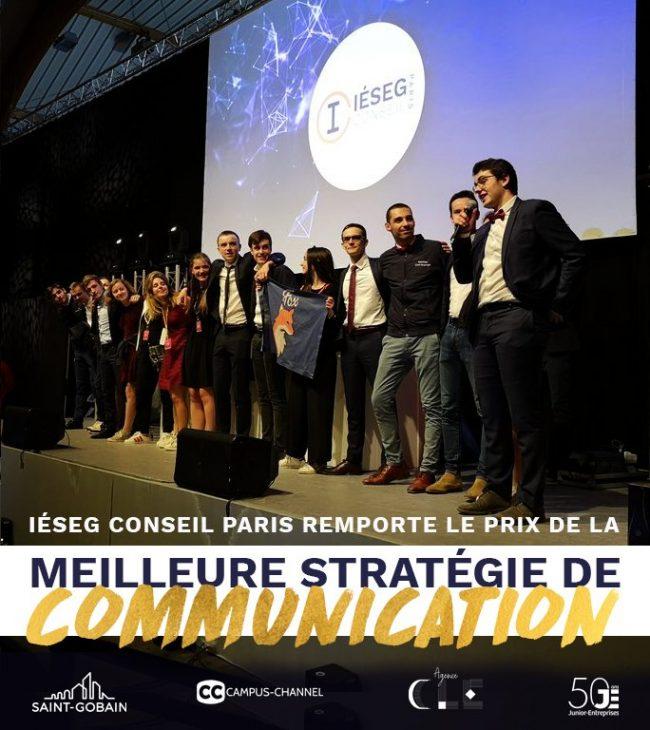 """IÉSEG CONSEIL Paris remporte le prix de la """"Meilleure Stratégie de Communication"""" lors du 100ème Congrès National des Junior- Entreprises."""