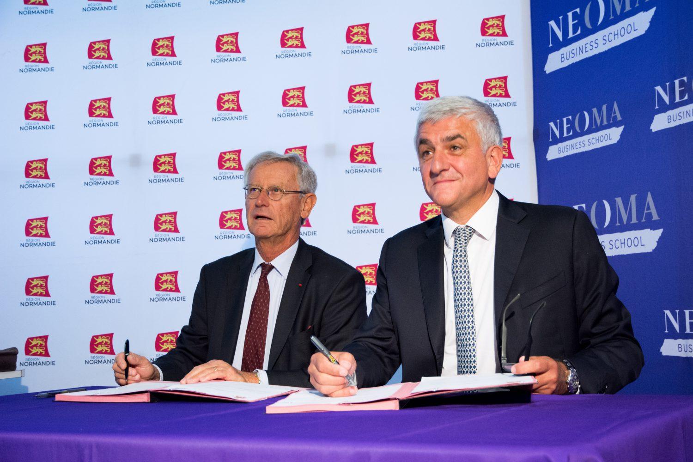 Hervé Morin lance le nouveau prêt d'honneur « DÉFI-étudiant »  à NEOMA Business School