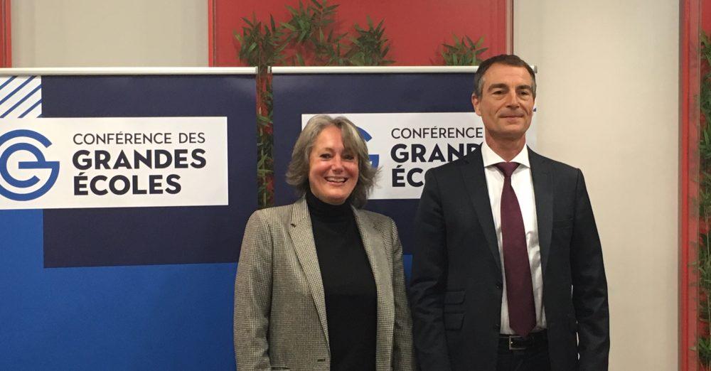 Alice Guilhon, présidente du Chapitre des Ecoles de Management et DG de SKEMA et Christophe Germain, VP du Chapitre et DG dAudencia