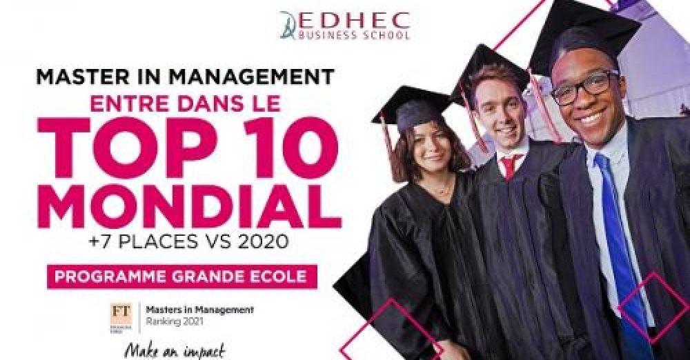 Classement FT MIM 2021 : Le Programme Grande Ecole de l'EDHEC intègre le Top 10 mondial (c) EDHEC BUSINESS SCHOOL