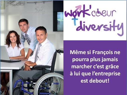 Une des affiches de sensibilisation au handicap de Work'Coeur Diversity, dans le cadre de la campagne de communication sur la diversité au sein de ICN Business School