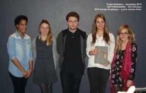 Les grands vainqueurs du concours : Tracy, Mathilde, Baptiste, Arcadie et Cassandre (de gauche à droite)