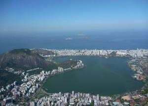 Vue depuis le Corcovado sur la Lagoa Rodrigo de Freitas